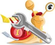 Racer Snail Cartoon Vector Character AKA Mr. Speedy - Repair