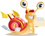 Racer Snail Cartoon Vector Character AKA Mr. Speedy - Sign 1