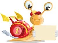 Racer Snail Cartoon Vector Character AKA Mr. Speedy - Sign 3