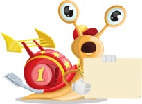 Racer Snail Cartoon Vector Character AKA Mr. Speedy - Sign 4