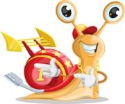 Racer Snail Cartoon Vector Character AKA Mr. Speedy - Point