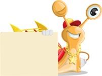 Racer Snail Cartoon Vector Character AKA Mr. Speedy - Sign 7