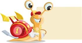 Racer Snail Cartoon Vector Character AKA Mr. Speedy - Sign 8