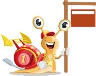 Racer Snail Cartoon Vector Character AKA Mr. Speedy - Sign 9