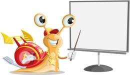 Racer Snail Cartoon Vector Character AKA Mr. Speedy - Presentation 2