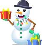Snowman with Presents and Lights