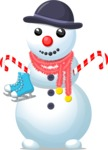 Snowman with Skates and Hat