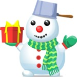 Snowman with Present and Pan