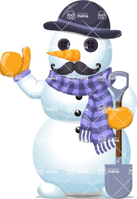 Snowman Graphic Maker - Snowman with Moustache