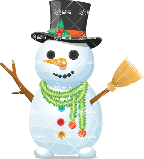 Snowman Graphic Maker - Snowman with Black Hat