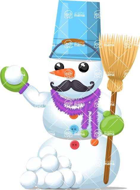 Snowman Graphic Maker - Snowman with Snowballs and Broom
