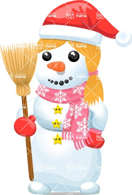 Snowman Graphic Maker - Snowman Girl with Broom
