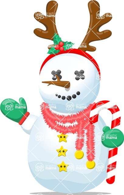 Snowman Graphic Maker - Snowman with Candy Cane