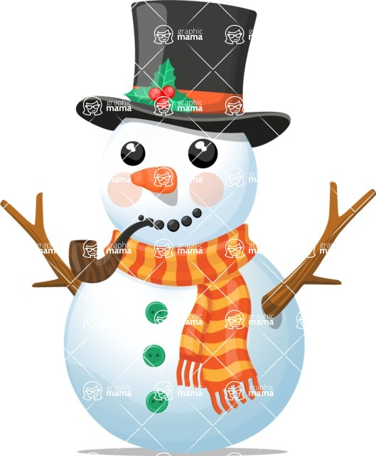 Snowman Graphic Maker - Snowman with Pipe and Mistletoe