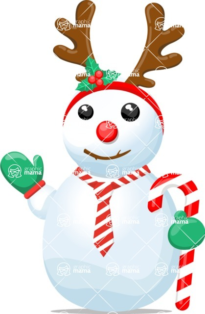 Snowman Graphic Maker - Snowman with Candy Cane and Tiara