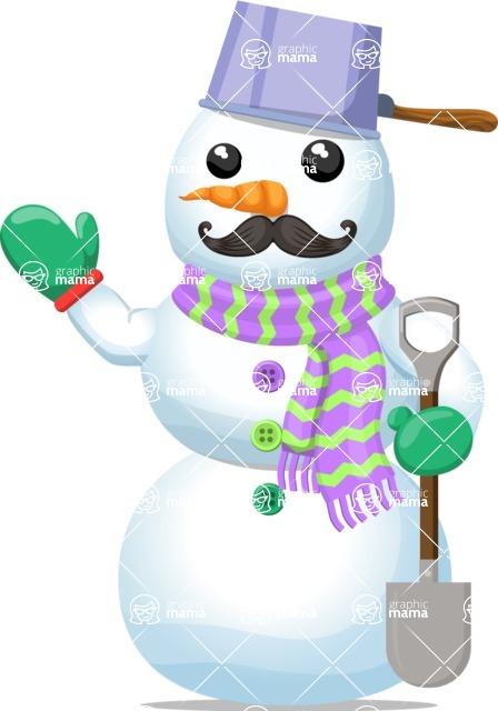 Snowman Graphic Maker - Uncle Snowman with Shovel