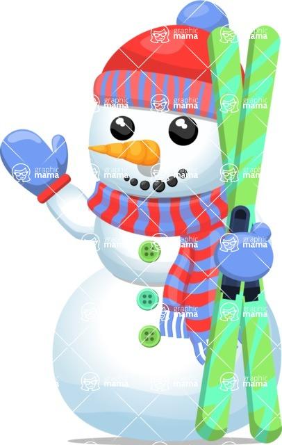 Snowman Graphic Maker - Snowman Waving with Ski