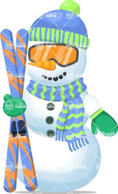 Snowman Graphic Maker - Snowman with Ski