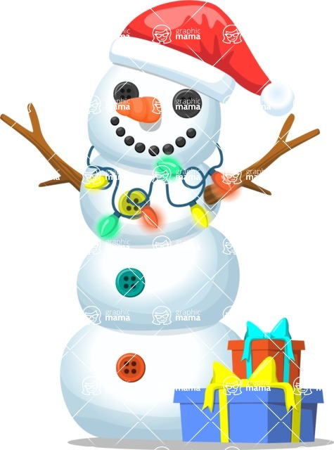 Snowman Graphic Maker - Snowman with Festive Lights