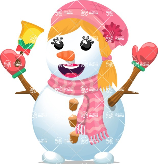 Snowman Graphic Maker - Snowman Girl with Bell