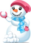 Snowman Graphic Maker - Cute Snowman Girl with Snowballs