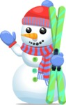 Build Your Jolly Snowman - Snowman Waving with Ski