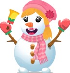 Build Your Jolly Snowman - Snowman Girl with Bell