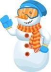 Snowman Cartoon Vector Character - Hello