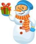 Snowman Cartoon Vector Character - Gift