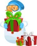 Snowman Cartoon Vector Character - Gift 2
