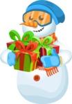 Snowman Cartoon Vector Character - Gift 3