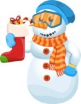Snowman Cartoon Vector Character - Christmas Sock