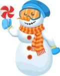 Snowman Cartoon Vector Character - Candy