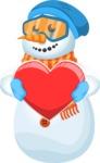 Snowman Cartoon Vector Character - Love