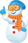 Snowman Cartoon Vector Character - Atention