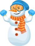 Snowman Cartoon Vector Character - Vacation