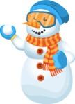 Snowman Cartoon Vector Character - Snowman Cartoon Character With Snowball