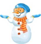 Snowman Cartoon Vector Character - Snowing