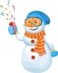 Snowman Cartoon Vector Character - Confetti