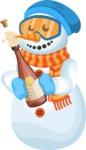 Snowman Cartoon Vector Character - Champagne