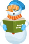 Snowman Cartoon Vector Character - Christmas Cartoon Snowman Singing Christmas Songs