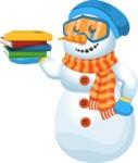 Snowman Cartoon Vector Character - Books