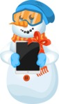 Snowman Cartoon Vector Character - Snowman with a Gift Tablet