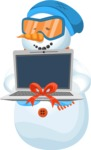 Snowman Cartoon Vector Character - Christmas Cartoon Character with a Laptop Present