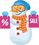Snowman Cartoon Vector Character - Snowman Cartoon Character Shopping for Christmas