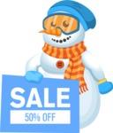 Snowman Cartoon Vector Character - Snowman Cartoon Character Holding a Sale Sign