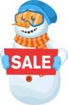 Snowman Cartoon Vector Character - Winter Cartoon Character with Sale Sign