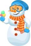 Snowman Cartoon Vector Character - Ice Cream