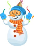 Snowman Cartoon Vector Character - Party