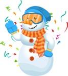 Snowman Cartoon Vector Character - Celebrating New Year Snowman Cartoon Character